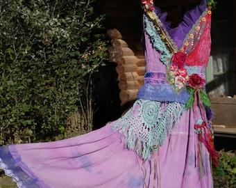 Wonderful romantic fairy dress, Travel to Samarkand, mauve, lilac, red, Boho dress, Wearable Art, Unique,Bohemian dress