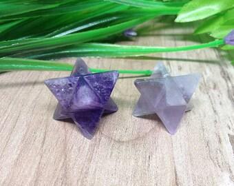 Amethyst Merkaba Stars for reiki healing, chakra balancing, crystal grid, Amethyst Crystal Merkaba