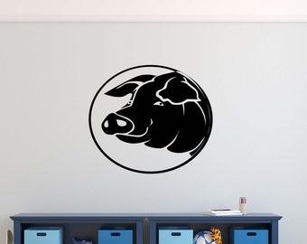 Pig Face Vinyl Wall Decal Decor