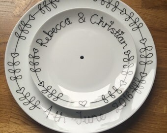 Personalised 2 tier cake stand plus matching sandwich tray
