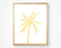 Summer wall decor, Beach art, Beach house art, palm print, surf art, Palm tree decor,  palms, Tropical palm, Wall decor print, Yellow print