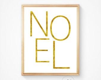 Noel printable, Noel print, Christmas print, Christmas printable, printable wall art, Holiday wall art, Noel art print, Gold art print