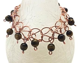 Copper Link Bracelet with Tiger Eye Beads