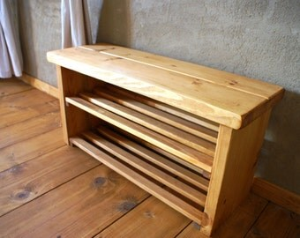 Handmade Shoe Rack Bench To Sit On,Cottage,Pine Solid Wood,Light Oak,Handwaxed
