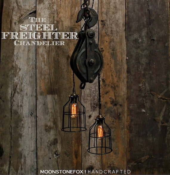Rustic Light Industrial Chandelier Rope Pulley By: The Steel Freighter Chandelier Pulley Chandelier Pulley