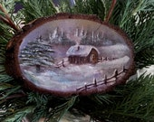 Snow landscape, mountain house, hand painted on wood, painted tree branch, original painting, tree stump art,