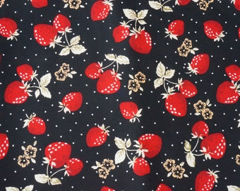 STRAWBERRY FABRIC, Fruit Fabric, nature,black polka dot 100% Cotton Fabric Fat Quarter, half yard, yard. for quilting, sewing, crafing.