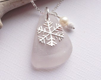 Scottish Sea Glass and Sterling Silver Snowflake Necklace - SOFT PINK
