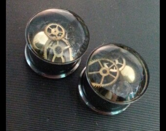 "3/4"" (19mm) pair of double flare steampunk plugs"