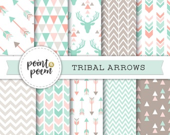 Arrows Tribal Digital Papers Pink Mint Green Printable Papers Arrows Triangles Chevron Antlers Deer Hipster