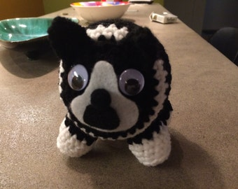 BOSTON TERRIER - Amugurumi crocheted handmade Boston Terrier doll