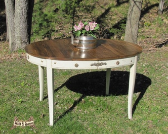 shabby chic kitchen/dining table, wood top, farm house table, Cottage chic kitchen dining table, vintage table, entryway table