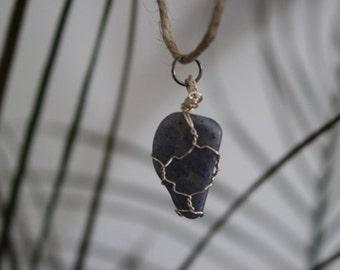 Blue Quartz Silver Wire Wrapped Crystal Pendant Hemp Chain Necklace