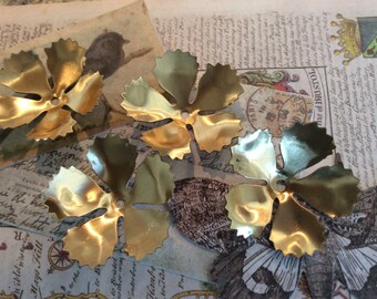 Raw brass floral floral flourishes 4 pc