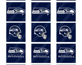 Seattle Seahawks  digital collage sheet 8.5x11 2 inches square INSTANT DOWNLOAD