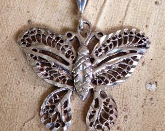 Sterling Silver - Filigree Scroll Butterfly 4.2g - Pendant or Best Offer