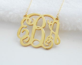 1 1/4 inch Gold Monogram 3 Initials Necklace,Personalized Monogram Pendant Necklace,Monogram Necklace,Nameplate Necklace,Christmas Gift Idea