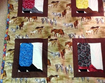 Cowboy Boots and Horses Quilt