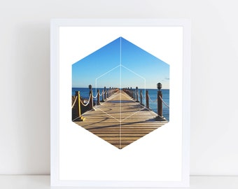 Ocean Walk Art Print - Inspirational Water Pier Wall Art, Colorful Sunny Day Geometric Photography Art, Printable Paradise Nature Poster