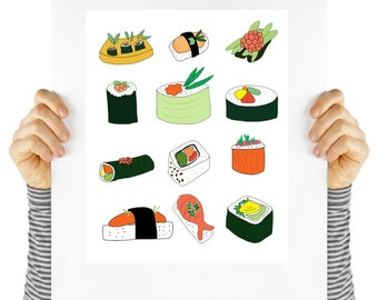 Modern sushi, sushi wall art, digital download, instant art,  sushi art, sushi collections, whimsical food, asian food collection