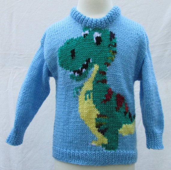 Knitting Pattern For Dinosaur Sweater : Hand knitted Dinosaur Sweater