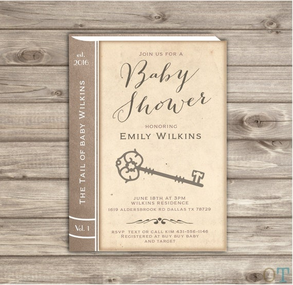 Vintage Book Cover Invitations ~ Vintage baby shower invitations story book old invitation