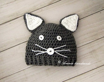 Crochet cat hat, Baby cat hat, Baby animal hat for Newborn to 12 Months, Great as an woodland baby shower gift or for a cute photo prop