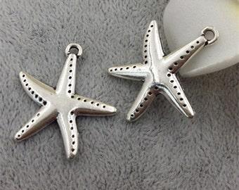 26mm antique silver starfish charm pendants  MF1621