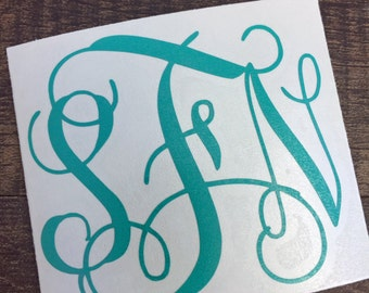 Monogram Decal | Car Window Decal | Yeti Decal | Monogram Sticker | Macbook Decal | Vinyl Decal for Yeti | Swell Monogram | Corkcicle Decal
