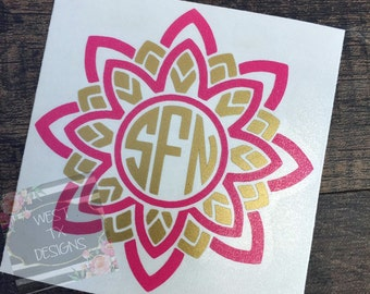 Flower Decal | Yeti Decal | Monogram Decal | Car Window Decal | Vinyl Decal | Macbook Decal | Yeti Monogram | Personalized Decal