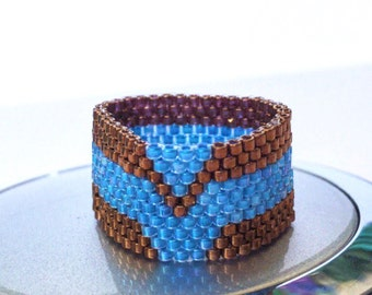 Peyote ring, Woven ring, Seed bead ring, Beaded ring, Beadwork ring, bronze and blue ring