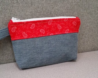 Country Jean Hand-Made Zippered Wristlet