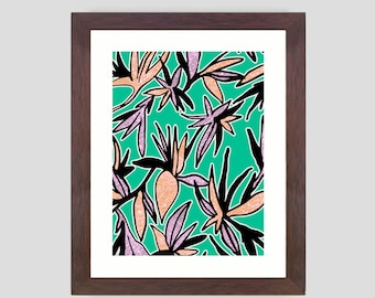 Spring Lily Flower Lilies Flowers Print Wall Art Poster A3 or A4 Colourful Art  - 4 colour options Green Peach Blue Purple