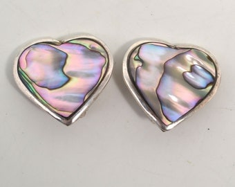 Vintage Abalone Alpaca Mexico Silver Heart Shaped Clip On Earrings