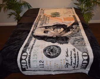 Buy any 3 get 1 free! New!! 5 Pounds!! Super Soft Korean Style Mink Blanket 100 Dollar Bill Finacial Ben Franklin Money