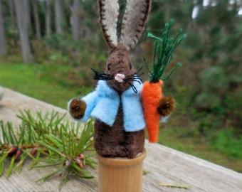 Stuffed bunny rabbit, felt Easter bunny, Easter decoration, small stuffed bunny, felt stuffed animal, woodland animal