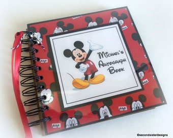 BOYISH FAVE! Custom PERSONALIZED  Disney Autograph Book Scrapbook Travel Journal Vacation Photo Book