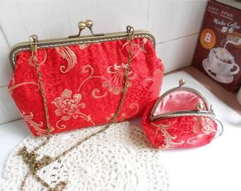 Set of 2 Red Brocade Clutches Women Handbags Kisslock Purses