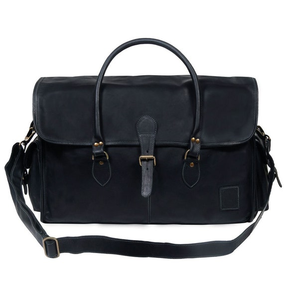Black Leather Weekend Bag Leather Holdall Leather