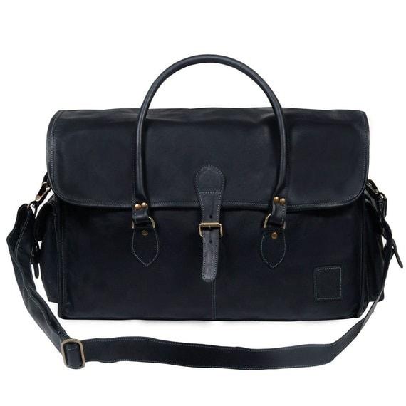 Weekender Bag Knitting Pattern : Black Leather Weekend Bag Leather Holdall Leather