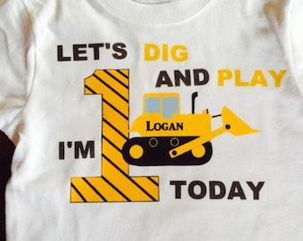 Construction birthday shirt, first birthday shirt