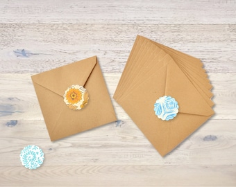 10 Kraft Brown Paper Envelopes 13 X 13 cm