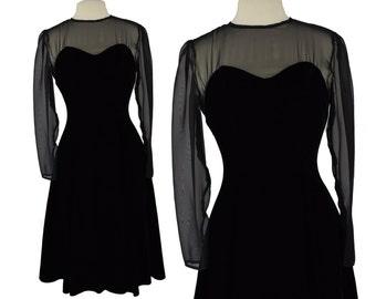 Vintage Dress, 1960s Dress, 60s Dress, Black Vintage Dress, Illusion Dress, Sheer, Black Velvet Dress, Classic Dress, Vintage Formal, Small