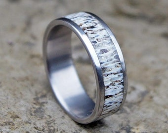 Natural deer antler and titanium band ring