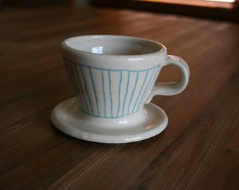 Light Teal/Blue and White Striped Pour Over