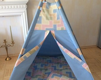 Blue with zigzags Teepee for kids
