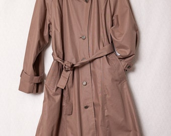 Winter London Fog Brown Trench Coat with Wool Lining, 12 Petite