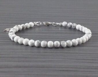ON SALE- Howlite  bracelet gemstone bracelets charm bracelets stackable bracelets handmade bracelets  beaded bracelets