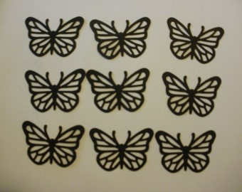 9 Black Card Stock Butterflies Embellishments Scrapbooks