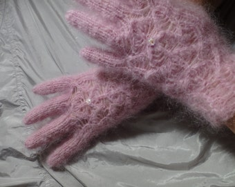 Knitted lace gloves with fingers with Swarovski crystal